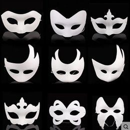 blank masquerade half masks Australia - White Unpainted Face Mask Plain Blank Version Paper Pulp Mask DIY Masquerade Masque Mask
