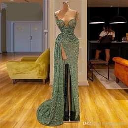 Wholesale islamic arts resale online - 2020 Green Mermaid Prom Reflective Dresses Sexy African Celebrity Party Dress Turkish Islamic Front Split Evening Gowns Spaghetti Straps