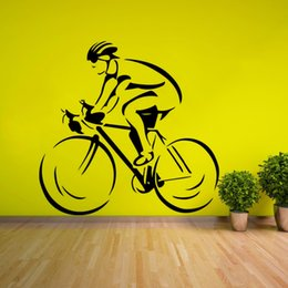 Wholesale racer cycle online – design Cyclist Modern Wall Decal Removable Biker Racer Wall Sticker Home Living Room Decor Cycle Sports Man Wall Art Poster