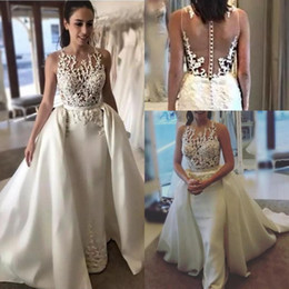 Detachable lace neckline weDDing Dress online shopping - Modest Mermaid Wedding Dresses Applique Sheer Neckline Sleeveless With Detachable Train Custom Made Sheer Back Bridal Gowns