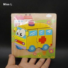 toddlers puzzles Australia - Children Ambulance Wooden Puzzle Jiasaw Board Toys For Babys Kids Toddlers