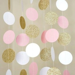Glitter Party Decorations Australia - 11 Feet Glitter Gold White Pink Big Circle Garland For Wedding Events Party Birthday Baby Shower Decorations Kids Room Decor