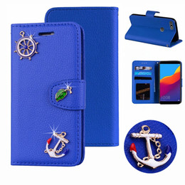 note case wallet purse 2019 - For Iphone XS MAX XR X 8 7 SE Touch 6 5 Galaxy S10 e Sailo Anchor Leather Wallet Case Leaf Holder ID Card Slot Flip Cove