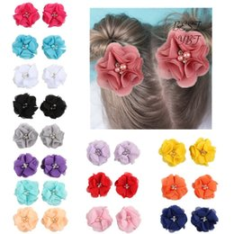 Flower Girl Rhinestone Hair Clips Australia - 2pcs Lovely Girls Mini Chiffon Flowers with Pearl Rhinestone Center Hair Clips Lace Flower for Hair Accessories