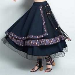 Navy polyester skirt online shopping - faldas mujer moda vintage skirts womens autumn winter Mexico style ethnic designer long navy blue asymmetric skirt