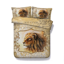 $enCountryForm.capitalKeyWord UK - 3D Bedding Sets Brown Roman Lion Boys Girls 3 Pieces Duvet Cover Set Comforter Quilt Bedding Cover With Zipper Closure