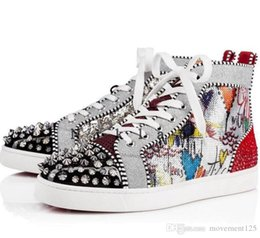 rare leather shoes UK - New Hot Sell Men Women Luxury Shoes Red Bottom Sneakers high-top Print Silver Pik Pik No Limit RARE studs rhinestones graffiti Brand Shoes