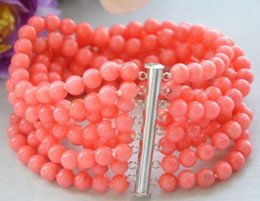 "$enCountryForm.capitalKeyWord Australia - Real 8row 7.5"" 6MM round pink coral bead bracelet magnet"