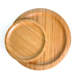 Wholesale Round Natural Two Size Bamboo Serving Trays Food Snack Candy Plate Tea Food Server Dishes Water Drink Platter Food Bamboo Tray DH1292