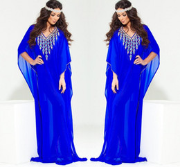 royal springs Australia - 2019 Royal Blue Evening Dresses For Saudi Arabian Womens Luxury Muslim Arabic Arab Caftans Islamic Beaded Dubai kaftan Abaya Gowns