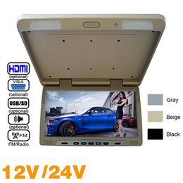 """Tft Speakers Australia - 3-Color 19"""" Roof Mounted LCD Bus Monitor Car Bus Flip Down TFT LCD Monitor with IR Transmitter USB MP5 FM Speaker VGA 2-Way Video Input#1297"""