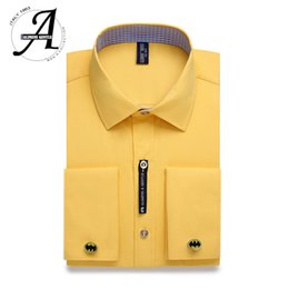9683846ca02 Alimens   Gentle Mens French Cuff Dress Shirt Men Long Sleeve Solid Color  Striped Style Cufflink Include 2019 Fashion New  389229