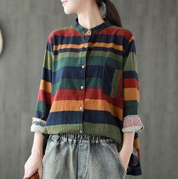 b4e8b4a2 linen shirt girl 2019 - Women Vintage Tops Autumn Spring 2018 Stripe Cotton  Linen Cardigan Contrast