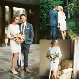 Petite Wedding Gown Pink Australia - Full Lace Knee length Short Wedding Dresses Cheap Country Sexy V Back Casual Bridal Gowns Petite Uk Elegant Long Sleeve robe de mariée 2019