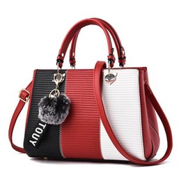 Hair ribbons flowers small online shopping - Winter hot fashion ladies hit color handbag version of the wild hair ball pendant shoulder Messenger bag