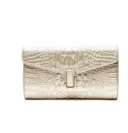Moda na moda padrão de crocodilo mão de duas camadas de couro feminino fivela de bloqueio de couro saco de embreagem bolsa de ombro venda por atacado