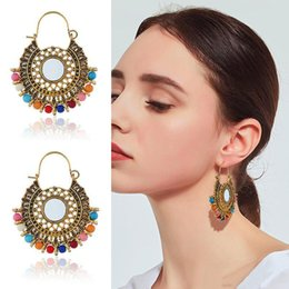 $enCountryForm.capitalKeyWord Australia - Vintage Bohemian Ethnic Round Earrings for Women Retro Indian Alloy Gold Silver Plated Earring Hoops Eardrop Jewelry Accessories Wholesale