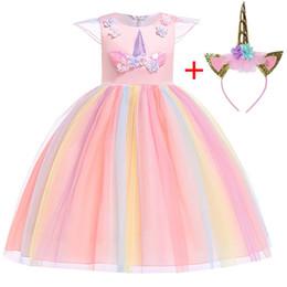 Costume Ball Australia - Girl Pastel Rainbow Princess Costume Fancy Cosply Unicorn Dress For Girls Elegant Ball Gown Kids Wedding Party Dresses J190611