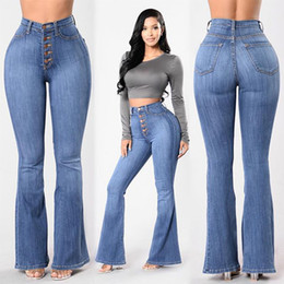 Factory direct jeans online shopping - Factory Direct Hot Selling European And American Style WOMEN S Jeans High waisted Sewing Button Wide Leg Jeans Women s