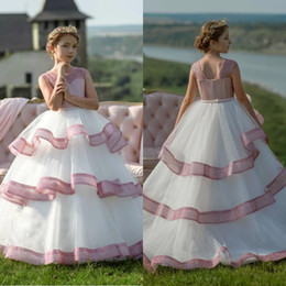 afdcdb6c692ca Belle Paillettes Princesse Blush Rose Fleur Robes De Fille Pour Le Mariage  De Ruffes Adolescents Filles Pageant Robes De Bal D anniversaire Robe De  Fête