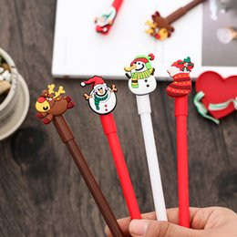 $enCountryForm.capitalKeyWord Australia - Christmas Theme 5pcs Snowman Reindeer Gel Pen 0.38mm Black Ink Pen Christmas Party Gift School Office Stationery Supplies AN002