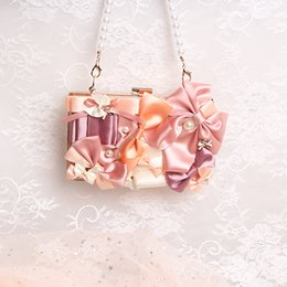 Phone Chain Color Australia - Angel2019 Chain Cos Spelling Color Bow Bag Manual Pearl String Portable Rectangle Woman Package