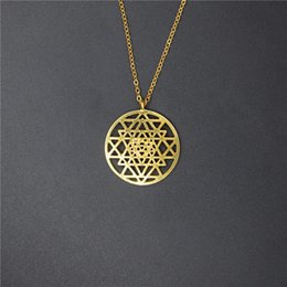 flower life silver Australia - Drop Shipping Sri Yantra pendant Silver Color necklaces & pendants for women flower of life Molecule Necklace Graducation Gift