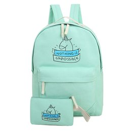 Cute Backpacks For Teenage Girls Australia - 2pcs set women canvas backpack fashion cute travel bags printing backpacks new style laptop backpack for teenage girls Light G