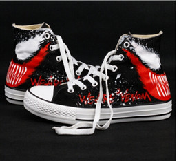 $enCountryForm.capitalKeyWord Australia - with box fashion high quality venom hand-painted casual shoes anime painted small monster high-top skateboard shoes denim flat shoes