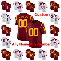 usc football Australia - Custom USC Trojans 2019 Custom Any Name Number Stitched 150TH Red White #9 JuJu Smith-Schuster 19 Matt Fink Seau NCAA Football Jerseys