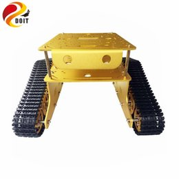tank motor Canada - DOIT Metal Crawler Tank Chassis Tank Model TD300 with Aluminum Alloy Frame Plastic Tracks 2 Motor for Robot of Gen Guest Contest
