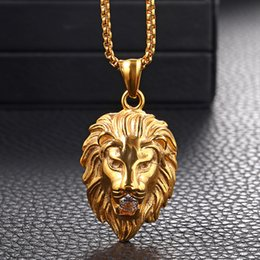 $enCountryForm.capitalKeyWord Australia - Mens Gold Silver Color Stainless Steel Lion Head Pendant Necklace Rhinestone Inlaid with Link Chain Free shipping