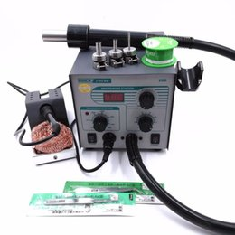soldering wire lead free NZ - QUICK 706W+ Digital Display Hot Air Gun + Soldering Iron Anti-static Lead-free Rework Station 2 IN 1 With 3 Nozzles + Tin wire