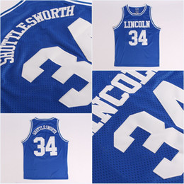 7ec23b5ed66a High Quality Mens Jesus SHUTTLESWORTH  34 Lincoln He Got Movie Basketball  Jersey 100% Stitched Above The Rim Moive Blue S-3XL Fast Shipping