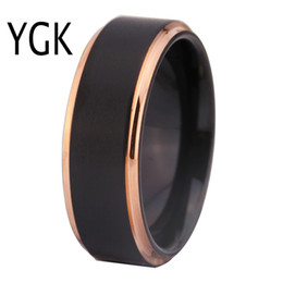 $enCountryForm.capitalKeyWord NZ - Tungsten Wedding Rings For Women Men's Classic Engagement Rings Black Matte With Rose Gold Step Tungsten Ring Comfort Fit Design T190624