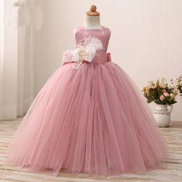 Purple Tutu For Little Girl Australia - Dusty Pink Flower Girl Dress Ball Gowns Floor Length Soft Tulle Girl Tutu Gowns for Wedding Party Birthday Little Baby Dresses