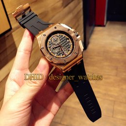rubber band mens luxury watch Australia - Luxury Watch Hot Sale Import VK Quartz Movement Wristwatches Rose Gold 316L Stainless Steel Case Black Rubber Band Mens Designer Watches