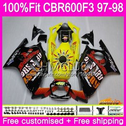 honda cbr f3 repsol fairings Australia - Injection For HONDA CBR600RR CBR600FS CBR 600 F3 97 98 78HM.7 CBR600 F3 FS CBR 600F3 CBR600F3 1997 1998 OEM Repsol yellow 100%Fit Fairing