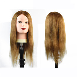 human hair mannequins UK - Professional training heads with 80% real human hairs can be curled practice Hairdressing mannequin makeup Styling dolls