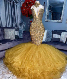 Nude bead cocktail dress online shopping - 2019 Real Gold Evening Gowns V Neck Beads Sequins Tiered Skirts Mermaid Prom Dresses Tulle Custom Made Shinning Sexy Cocktail Party Dress