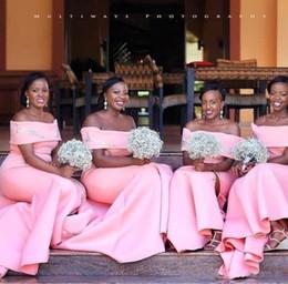$enCountryForm.capitalKeyWord Australia - Fall 2019 African Bridesmaid Dresses Pink Satin Appliqued Off The Shoulder Mermaid Sweep Train Satin Maid of Honor Dresses for Weddings