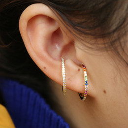 Gold plated ear cuffs online shopping - 2019 new designer Women colorful CZ circle Ear Cuff Wrap Clip Earrings Gold color Wedding Piercing Dual purpose jewelry earings