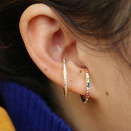 White gold pierced earrings online shopping - 2019 new designer Women colorful CZ circle Ear Cuff Wrap Clip Earrings Gold color Wedding Piercing Dual purpose jewelry earings