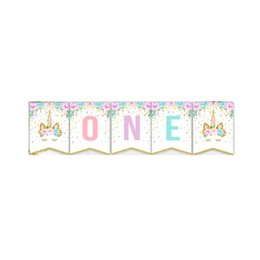 baby shower party themes NZ - Unicorn Theme Party Letters Flag Birthday Party Decorations Kids Baby Shower One Banner Garland 1st Birthday Party Supplies. B