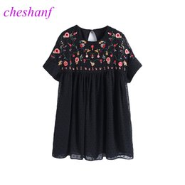Embroidered Jumpsuits NZ - Cheshanf Loose Black Floral Chiffon Embroidery Playsuits Women 2019 Embroidered Backless Summer Short Jumpsuit Hollow Out New Y19051601