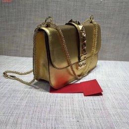 $enCountryForm.capitalKeyWord Australia - Free shipping !High-end custom luxury Genuine Leather fashion women Rivets Chains Hasp shoulder bags \Fashion Handags\Wallet color Golden