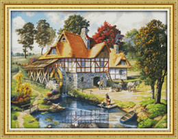 cabin paintings Australia - Mill scenery cabin countryside home decor painting ,Handmade Cross Stitch Embroidery Needlework sets counted print on canvas DMC 14CT  11CT