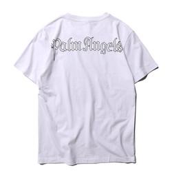 669ea7da XU JINGJING 19 Fashion Palm Angels Too Tees Casual Cotton Black Red Blue  Palm Angels T-shirt Men Women Ribbon Stripe Palm Angels Tshirt