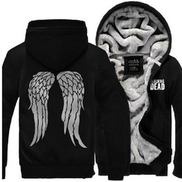 winter warm hoodie zip up NZ - Wholesale-The Hoodie Zombie Daryl Dixon Wings Warm Winter Fleece Zip Up Mens Clothing Coat Sweatshirts Clothes
