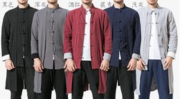 Kung Fu Suit Blue Australia - 5color cotton&linen men tang suit kung fu uniforms martial arts coat hanfu lay wing chun clothing taoist robe gown red gray blue